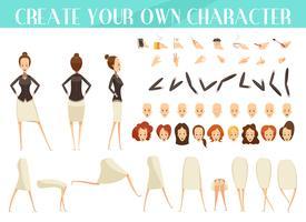 Schaffung von Frau Cartoon Style Set