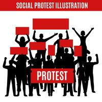 Social protest Silhouettesammansättning vektor