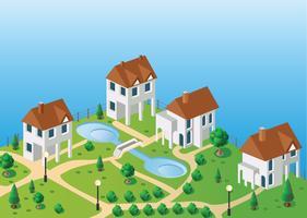 Dorfhäuser im Vektor