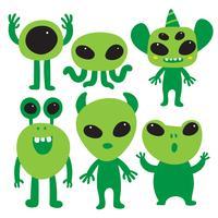 Alien karaktärsinställning design vektor