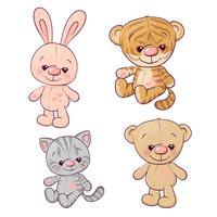 Ställ tigern cub kattunge nallebjörn hare. Handritning. Vektor illustration