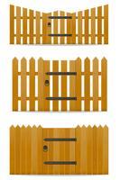 trä staket med wicket dörr vektor illustration