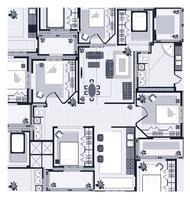 Grå Hus Plan vektor