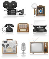 vintage och gammal konst utrustning video fotografering telefon inspelning tv-radio skrivande vektor illustration