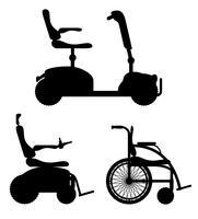 Rollstuhl für Umrissschattenbildvorrat-Vektorillustration der behinderten Menschen schwarze