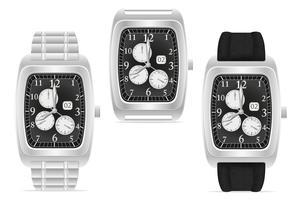 silberne mechanische Armbanduhrvektorillustration
