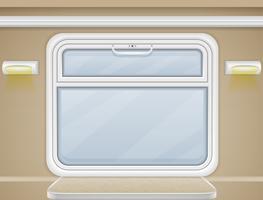 Fenster und Tisch im Zugabteilungsvektor