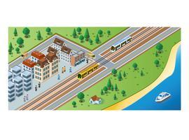 Tåg ankomster och passagerare vektor