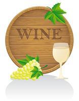 Hölzernes Weinfass und Glasvektorabbildung EPS10