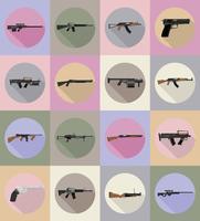 Ikonen-Vektorillustration der modernen Waffenfeuerwaffen flache
