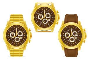goldene mechanische Armbanduhr-Vektorillustration