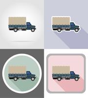 Fracht-LKW für den Transport von Waren flache Ikonen Vektor-Illustration