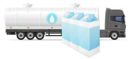 lastbil semitrailer leverans och transport av mjölk koncept vektor illustration
