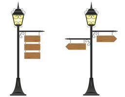 Zeichen der hölzernen Bretter, die an einer Straßenbeleuchtungvektorillustration hängen