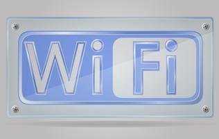 transparentes Zeichen Wi-Fi auf der Plattenvektorillustration