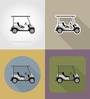 golfbil platt ikoner vektor illustration