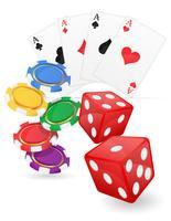 Kasinoeinzelteilkarten As und Chips würfeln Vektorillustration