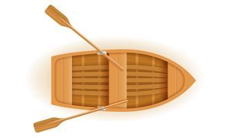 Draufsichtvektorillustration des hölzernen Bootes