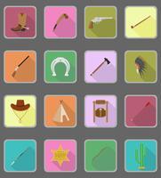 vilda väst platta ikoner vektor illustration