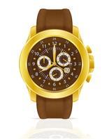 guld mekanisk armbandsur klocka med läderrem vektor illustration