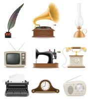 uppsättning av mycket föremål retro gamla vintage ikoner lager vektor illustration