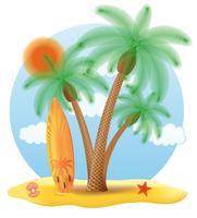 Surfbrett, das unter einer Palmevektorillustration steht