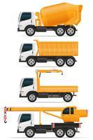 stellen Sie die Ikonen-LKWs ein, die für Bauvektorillustration entworfen werden