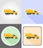 lastbil betongblandare platt ikoner vektor illustration