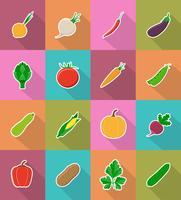 flache Ikonen des Gemüses mit der Schattenvektorillustration