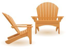 strand eller trädgård fåtölj lounger solstol av trä vektor illustration