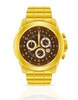 goldene mechanische Armbanduhr mit Armbandvektorillustration
