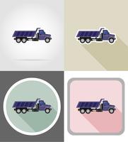 lastbil för transport av varor platta ikoner vektor illustration