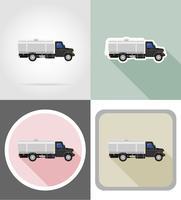 LKW mit Tank für den Transport von Flüssigkeiten flache Ikonen Vektor-Illustration