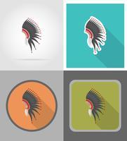 mohawk hatt vild väst platta ikoner vektor illustration