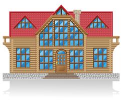 Holzhaus-Vektor-Illustration