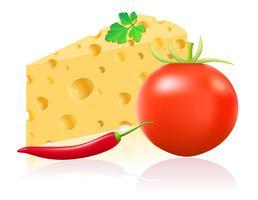 Stillleben mit Käse- und Gemüsevektorillustration