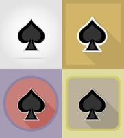 Flache Ikonen des Spatenkartenanzug-Kasinos vector Illustration