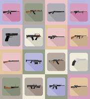 moderna vapen skjutvapen platt ikoner vektor illustration