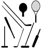 Bits und Stock Sport schwarze Silhouette Vektor-Illustration