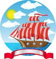 gammalt trä segelbåt vid havet vektor