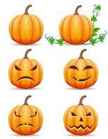 set ikoner halloween pumpa vektor illustration