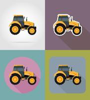 traktor platt ikoner vektor illustration
