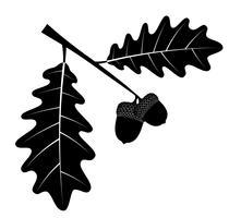 Eicheneicheln mit schwarzen Umrissschattenbild-Vektorillustration der Blätter schwarze