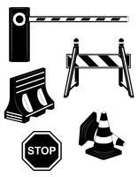set ikoner vägbarriär svart silhuett vektor illustration