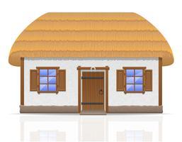 altes Bauernhaus mit einer Strohdachvektorillustration