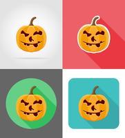 Ikonen-Vektorillustration des Halloween-Kürbises flache vektor