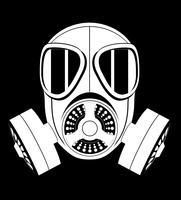 ikon gasmask svart och vitt vektor illustration