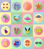 Objekte für die Erholung eine flache Vektor-Illustration Strand