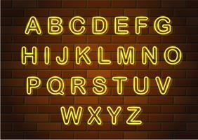 glühende Neonbuchstaben englisches Alphabet-Vektorillustration