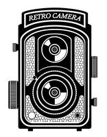 kamera foto gammal retro vintage ikon lager vektor illustration